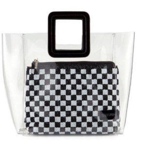 New STAUD Shirley Black White Checkered Beaded Bag